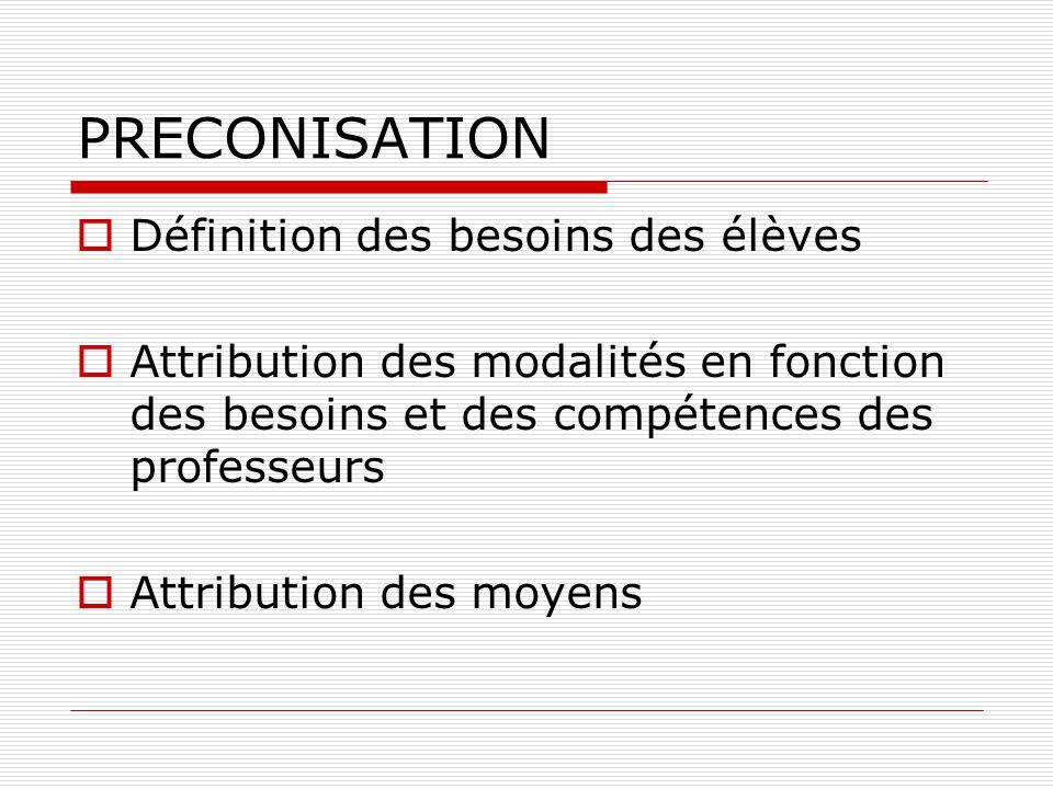 PRECONISATION  Définition des besoins des élèves  Attribution des modalités en fonction des besoins et des compétences des professeurs  Attribution