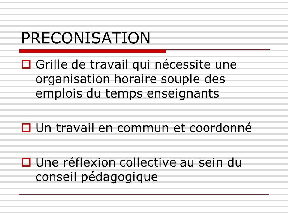 PRECONISATION  Grille de travail qui nécessite une organisation horaire souple des emplois du temps enseignants  Un travail en commun et coordonné 