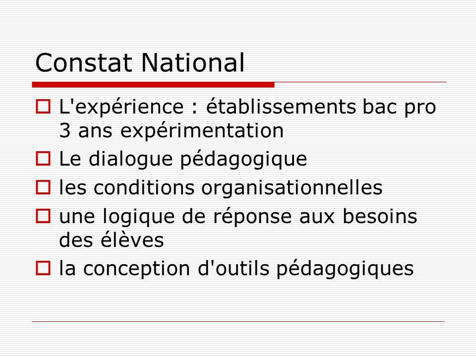 Constat National  L'expérience : établissements bac pro 3 ans expérimentation  Le dialogue pédagogique  les conditions organisationnelles  une log