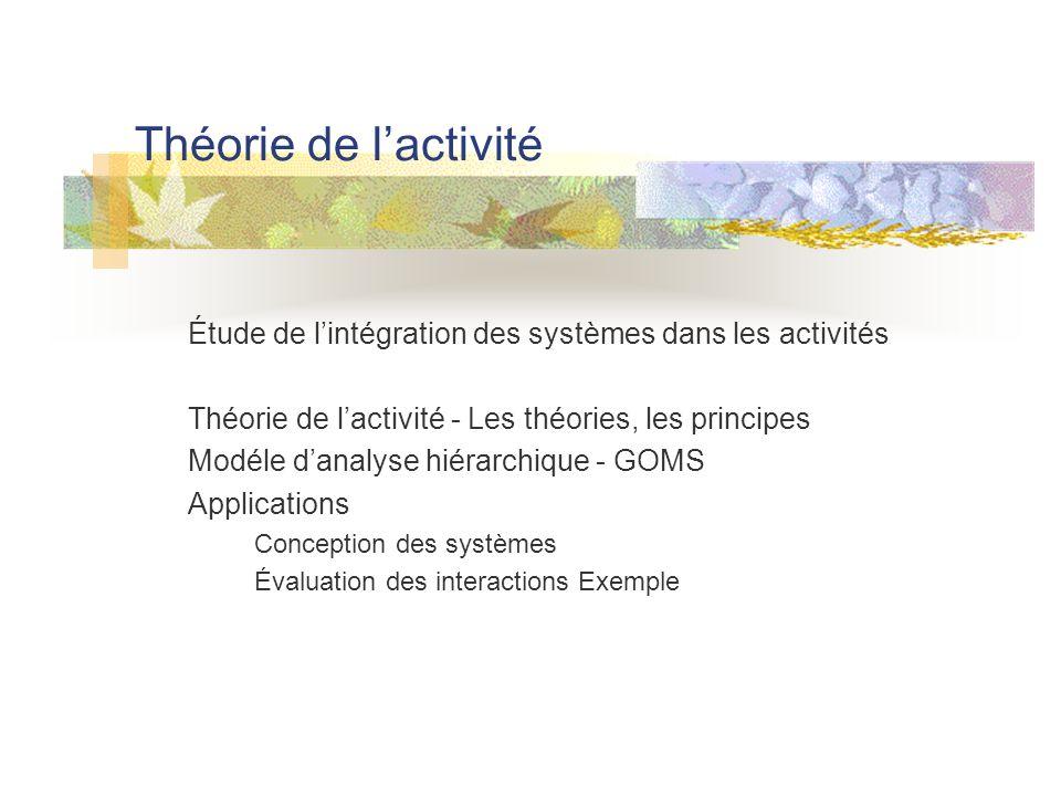 Théorie de l'activité Étude de l'intégration des systèmes dans les activités Théorie de l'activité - Les théories, les principes Modéle d'analyse hiérarchique - GOMS Applications Conception des systèmes Évaluation des interactions Exemple