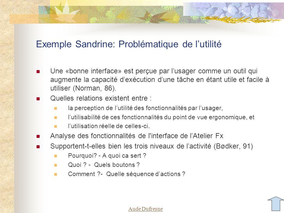 Aude Dufresne Exemple Sandrine: Problématique de l'utilité Une «bonne interface» est perçue par l'usager comme un outil qui augmente la capacité d'exécution d'une tâche en étant utile et facile à utiliser (Norman, 86).