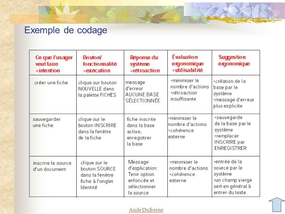 Aude Dufresne Exemple de codage
