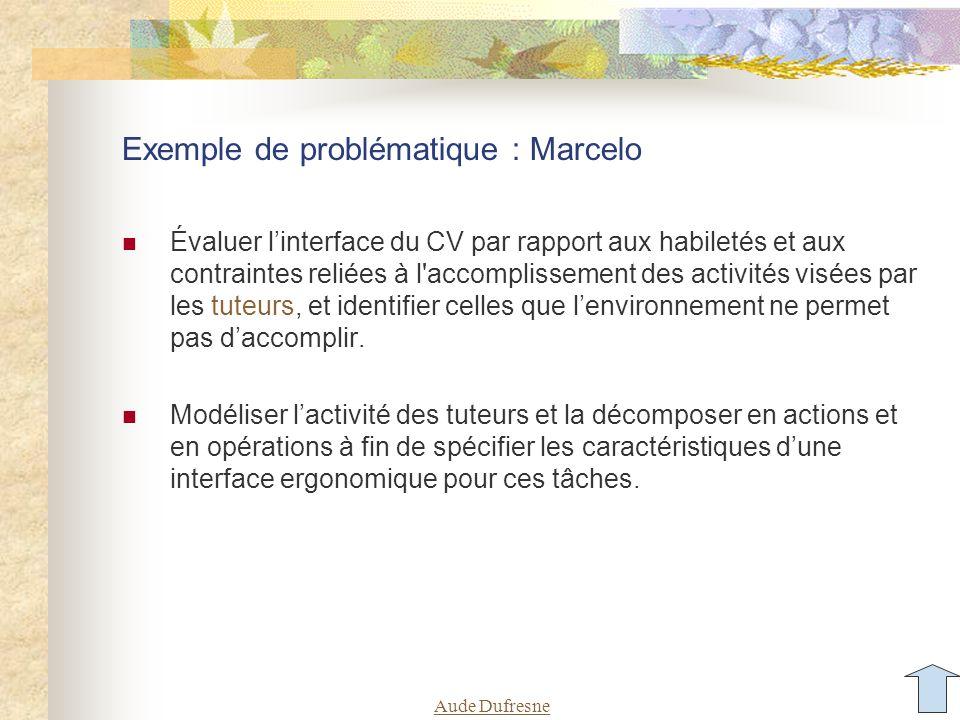 Aude Dufresne Exemple de problématique : Marcelo Évaluer l'interface du CV par rapport aux habiletés et aux contraintes reliées à l accomplissement des activités visées par les tuteurs, et identifier celles que l'environnement ne permet pas d'accomplir.