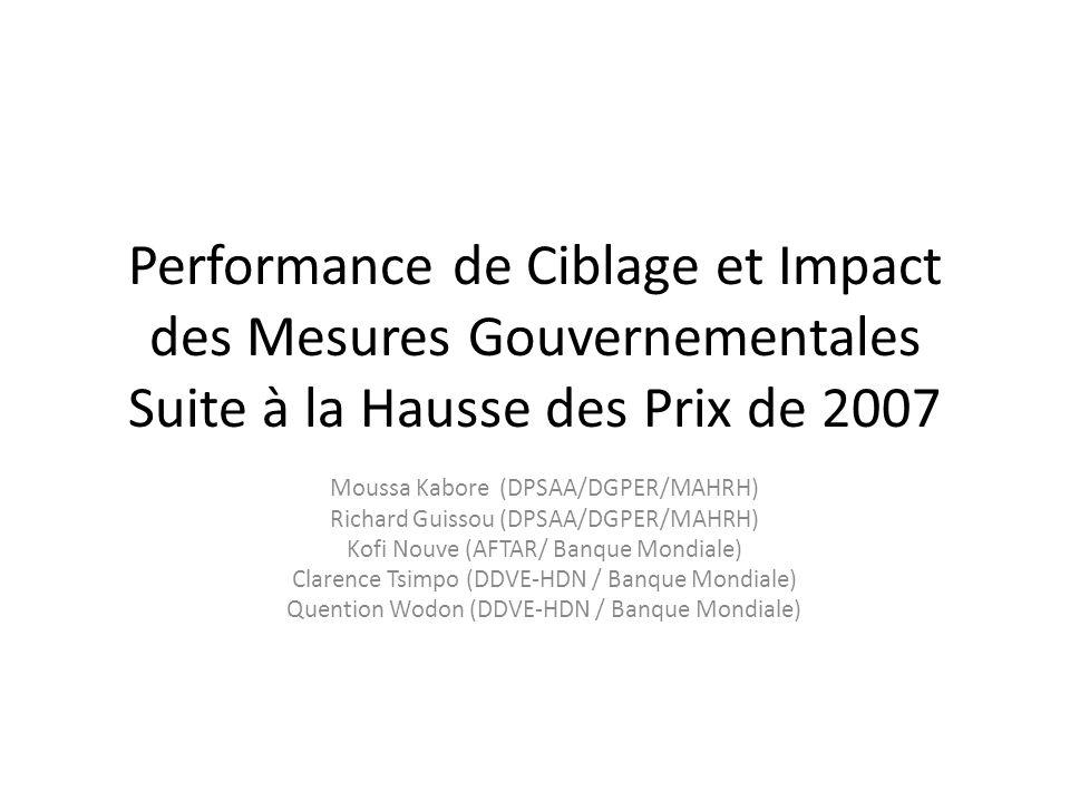 Performance de Ciblage et Impact des Mesures Gouvernementales Suite à la Hausse des Prix de 2007 Moussa Kabore (DPSAA/DGPER/MAHRH) Richard Guissou (DPSAA/DGPER/MAHRH) Kofi Nouve (AFTAR/ Banque Mondiale) Clarence Tsimpo (DDVE-HDN / Banque Mondiale) Quention Wodon (DDVE-HDN / Banque Mondiale)