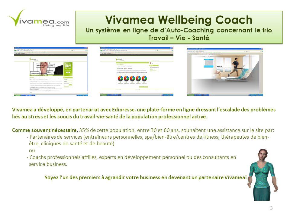 3 Vivamea a développé, en partenariat avec Edipresse, une plate-forme en ligne dressant l'escalade des problèmes liés au stress et les soucis du travail-vie-santé de la population professionnel active.