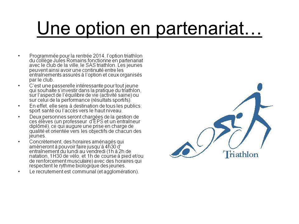 Une option en partenariat… Programmée pour la rentrée 2014, l'option triathlon du collège Jules Romains fonctionne en partenariat avec le club de la v