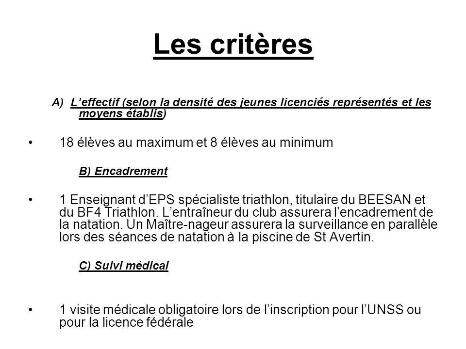 Les critères A) L'effectif (selon la densité des jeunes licenciés représentés et les moyens établis) 18 élèves au maximum et 8 élèves au minimum B) En