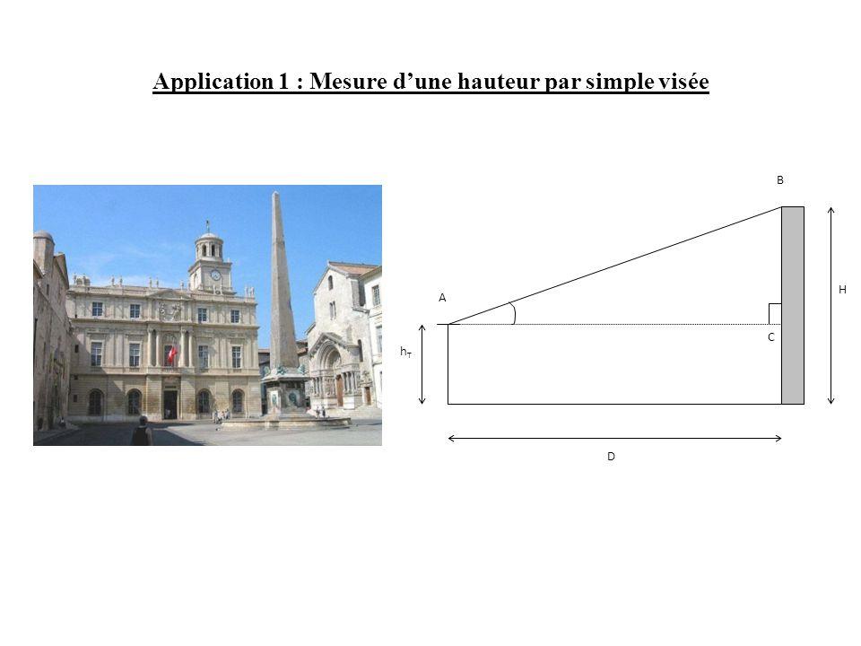 Application 1 : Mesure d'une hauteur par simple visée H hThT D A C B