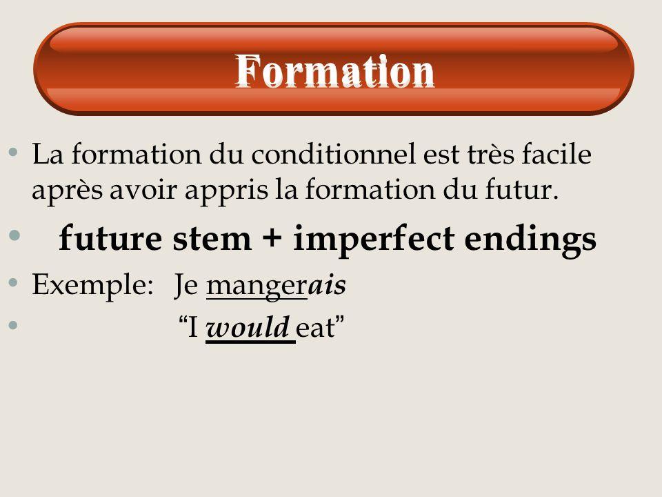 Le conditionnel Pour former le conditionnel en Français on emploie tout l'infinitif et les terminaisons suivantes qui sont les mêmes terminaisons pour
