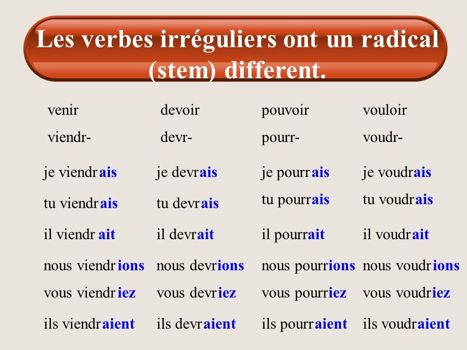 Les verbes irréguliers ont un radical (stem) different. avoir aur- j'aur tu aur il aur nous aur vous aur ils aur ais ait ions iez aient être ser- je s