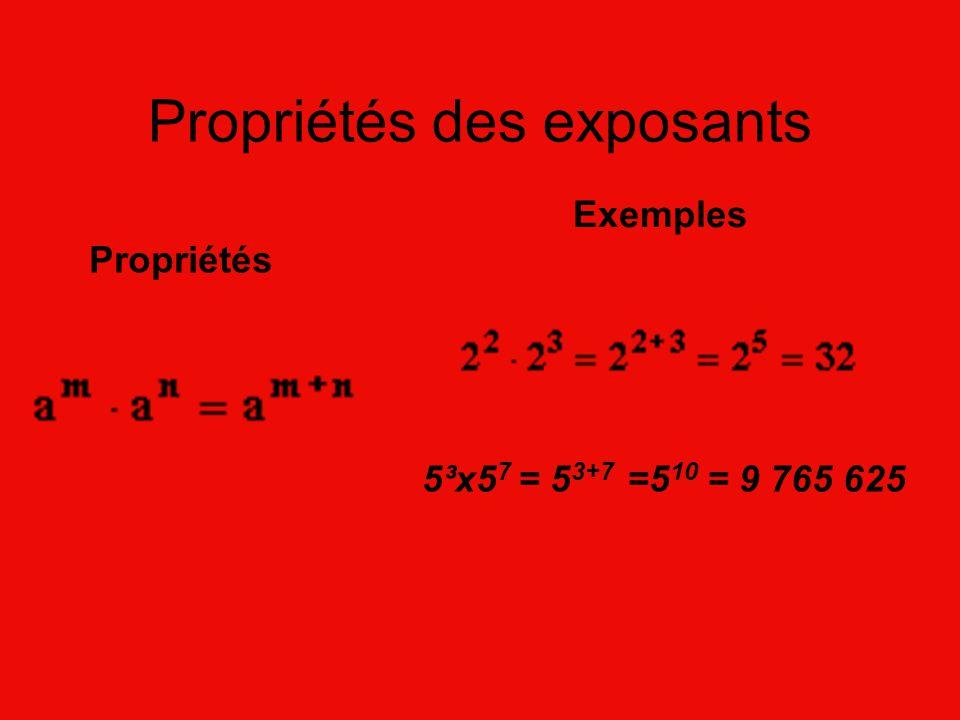 Propriétés des exposants Propriétés Exemples 5³x5 7 = 5 3+7 =5 10 = 9 765 625