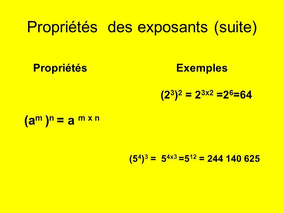 Propriétés des exposants (suite) PropriétésExemples (a m ) n = a m x n (2 3 ) 2 = 2 3x2 =2 6 =64 (5 4 ) 3 = 5 4x3 =5 12 = 244 140 625