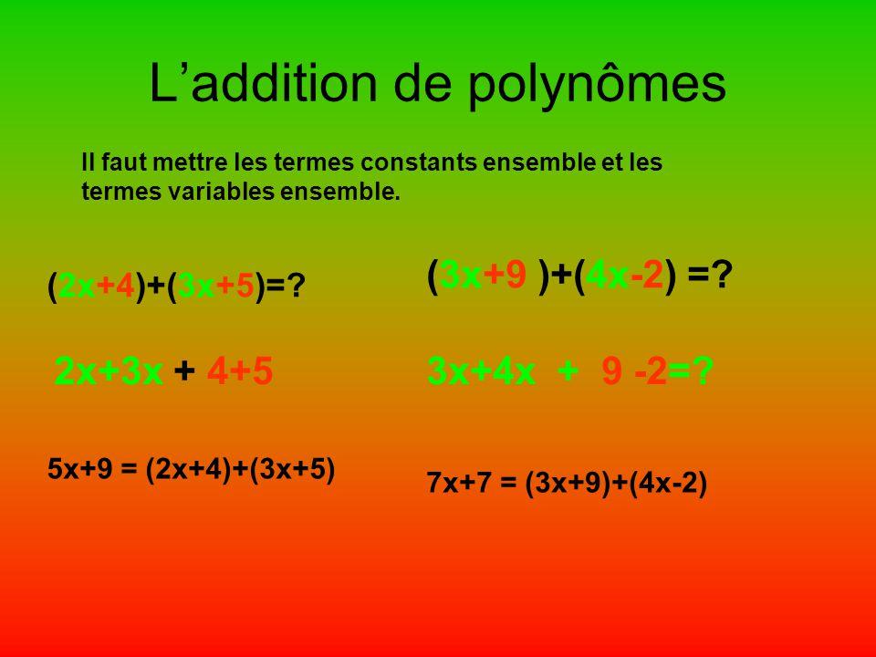 L'addition de polynômes Il faut mettre les termes constants ensemble et les termes variables ensemble. (2x+4)+(3x+5)=? 2x+3x + 4+5 5x+9 = (2x+4)+(3x+5