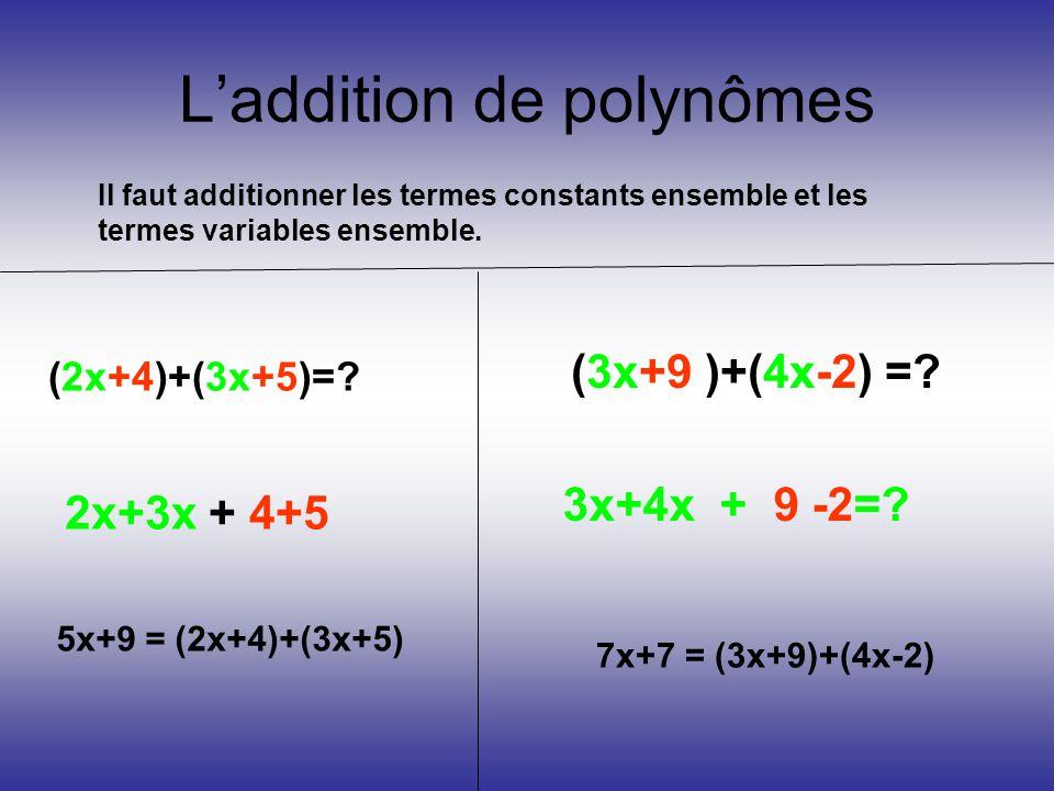 L'addition de polynômes Il faut additionner les termes constants ensemble et les termes variables ensemble. (2x+4)+(3x+5)=? 2x+3x + 4+5 5x+9 = (2x+4)+