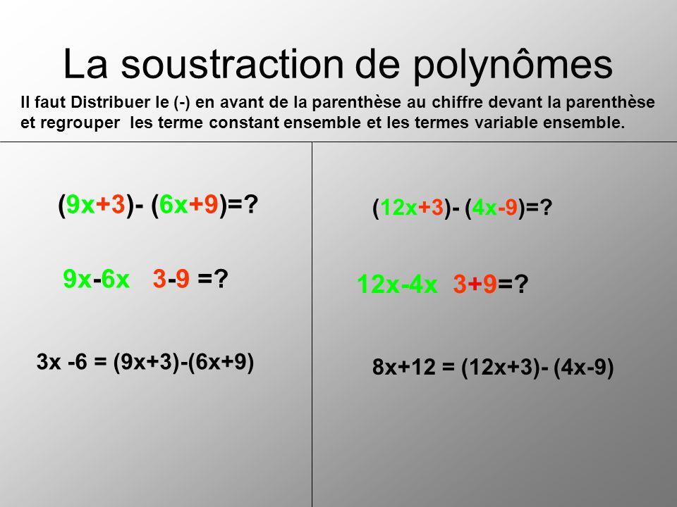 La soustraction de polynômes (9x+3)- (6x+9)=? 9x-6x 3-9 =? 3x -6 = (9x+3)-(6x+9) (12x+3)- (4x-9)=? 12x-4x 3+9=? 8x+12 = (12x+3)- (4x-9) Il faut Distri