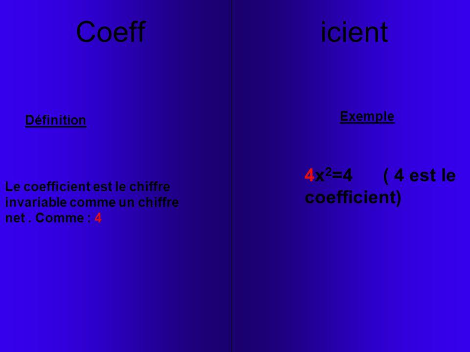 Coeff icient Le coefficient est le chiffre invariable comme un chiffre net. Comme : 4 Définition Exemple 4x 2 =4 ( 4 est le coefficient)