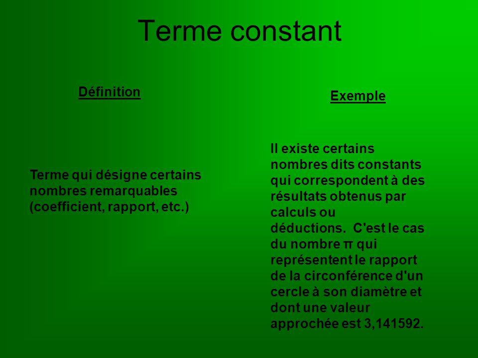 Terme constant Terme qui désigne certains nombres remarquables (coefficient, rapport, etc.) Définition Exemple Il existe certains nombres dits constants qui correspondent à des résultats obtenus par calculs ou déductions.