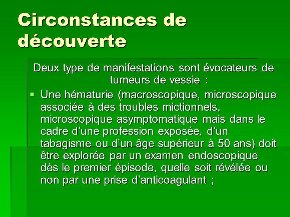 Circonstances de découverte Deux type de manifestations sont évocateurs de tumeurs de vessie :  Une hématurie (macroscopique, microscopique associée