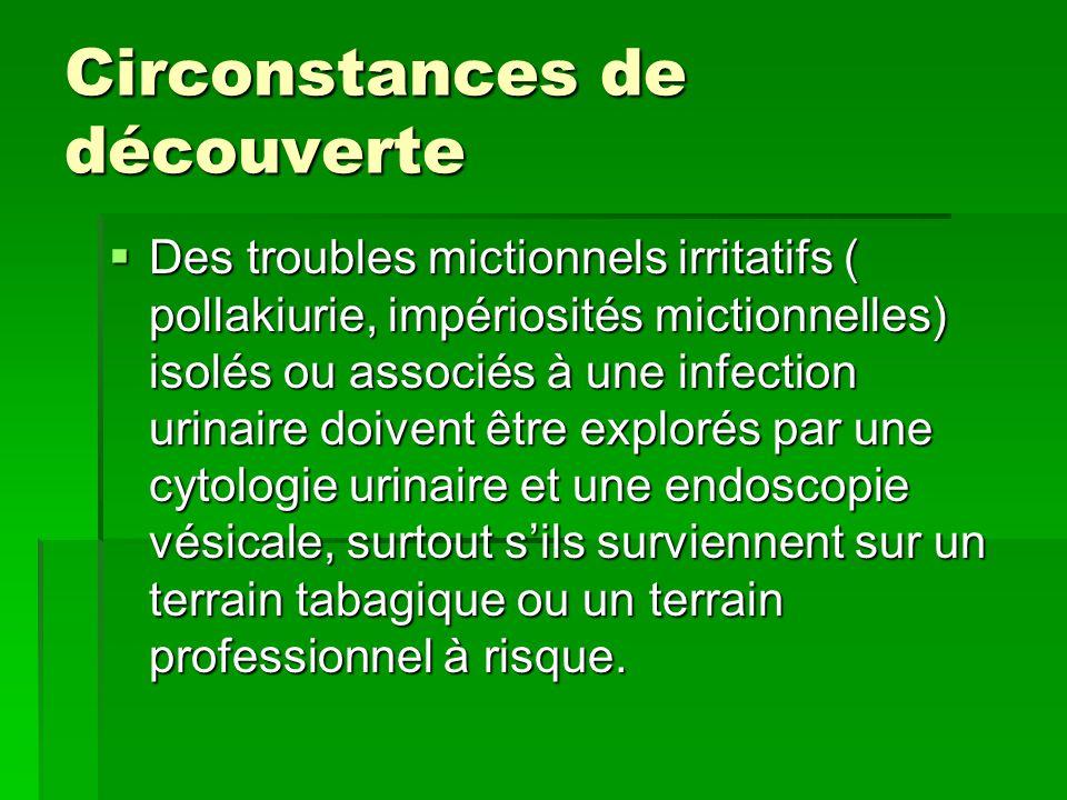 Circonstances de découverte  Des troubles mictionnels irritatifs ( pollakiurie, impériosités mictionnelles) isolés ou associés à une infection urinai