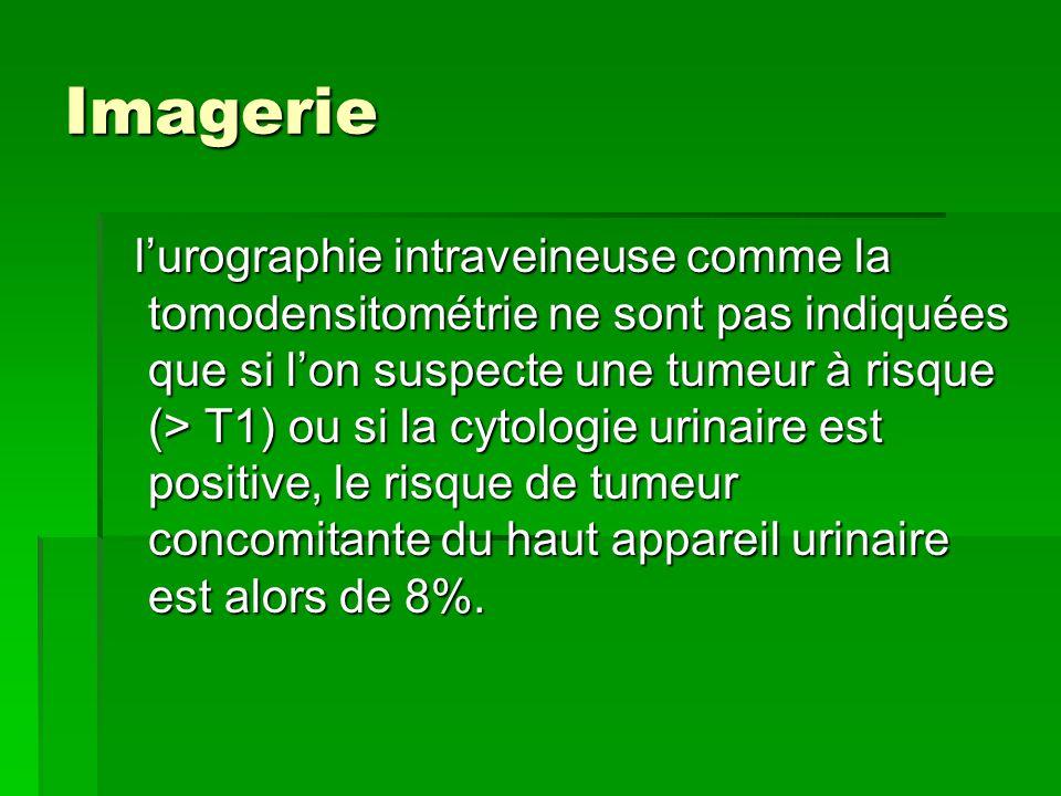 Imagerie l'urographie intraveineuse comme la tomodensitométrie ne sont pas indiquées que si l'on suspecte une tumeur à risque (> T1) ou si la cytologi