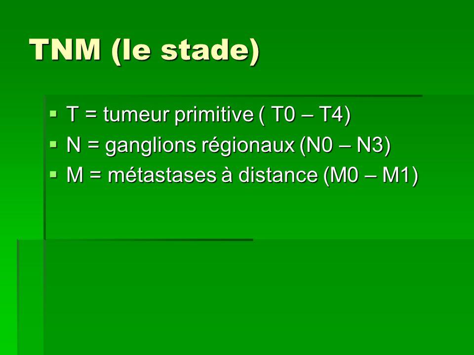 TNM (le stade)  T = tumeur primitive ( T0 – T4)  N = ganglions régionaux (N0 – N3)  M = métastases à distance (M0 – M1)