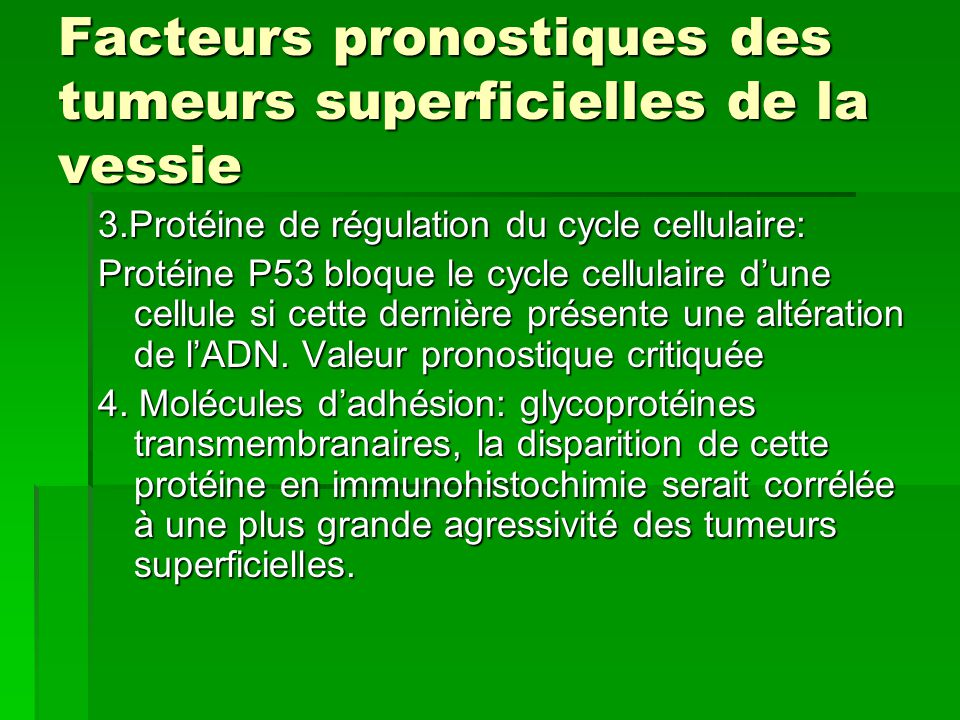 Facteurs pronostiques des tumeurs superficielles de la vessie 3.Protéine de régulation du cycle cellulaire: Protéine P53 bloque le cycle cellulaire d'