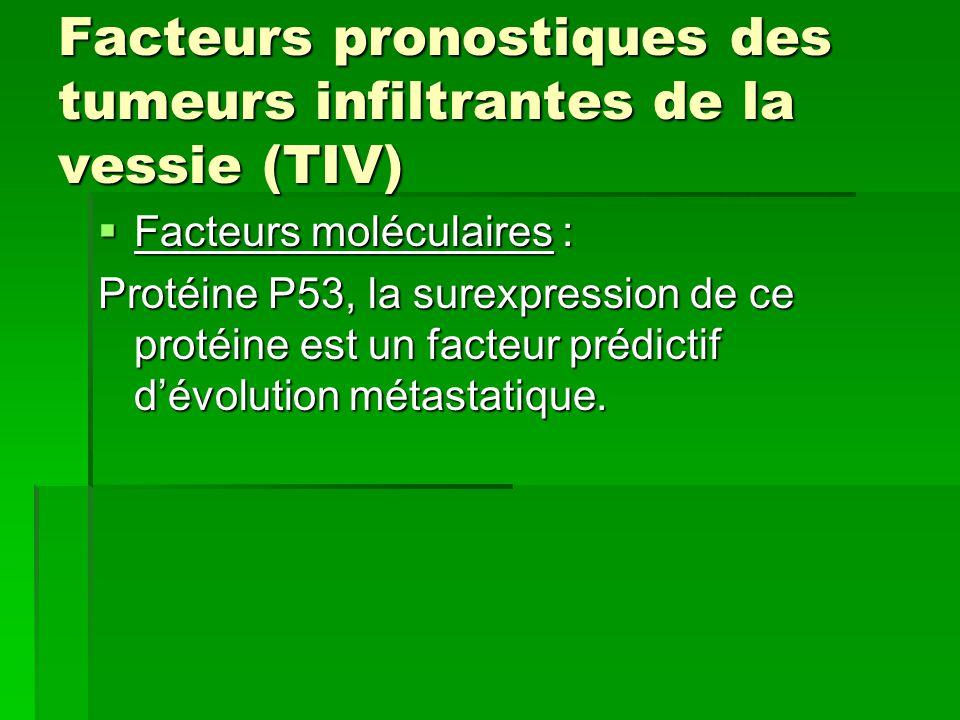 Facteurs pronostiques des tumeurs infiltrantes de la vessie (TIV)  Facteurs moléculaires : Protéine P53, la surexpression de ce protéine est un facte