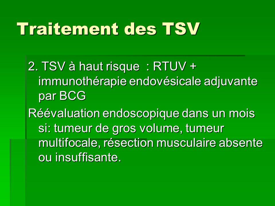 Traitement des TSV 2. TSV à haut risque : RTUV + immunothérapie endovésicale adjuvante par BCG Réévaluation endoscopique dans un mois si: tumeur de gr