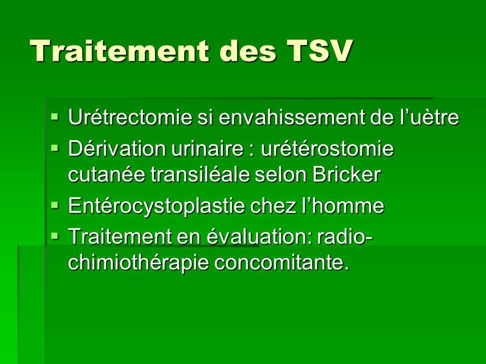 Traitement des TSV  Urétrectomie si envahissement de l'uètre  Dérivation urinaire : urétérostomie cutanée transiléale selon Bricker  Entérocystopla