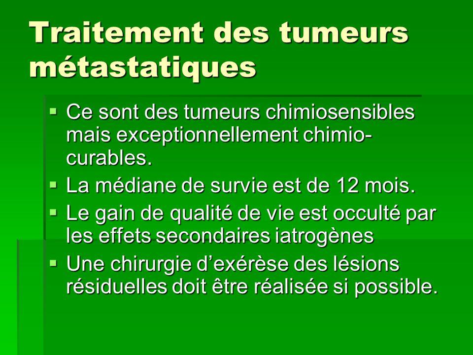Traitement des tumeurs métastatiques  Ce sont des tumeurs chimiosensibles mais exceptionnellement chimio- curables.  La médiane de survie est de 12
