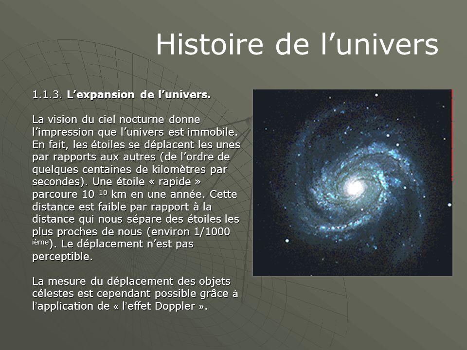 Histoire de l'univers 1.1.3. L'expansion de l'univers. La vision du ciel nocturne donne l'impression que l'univers est immobile. En fait, les étoiles