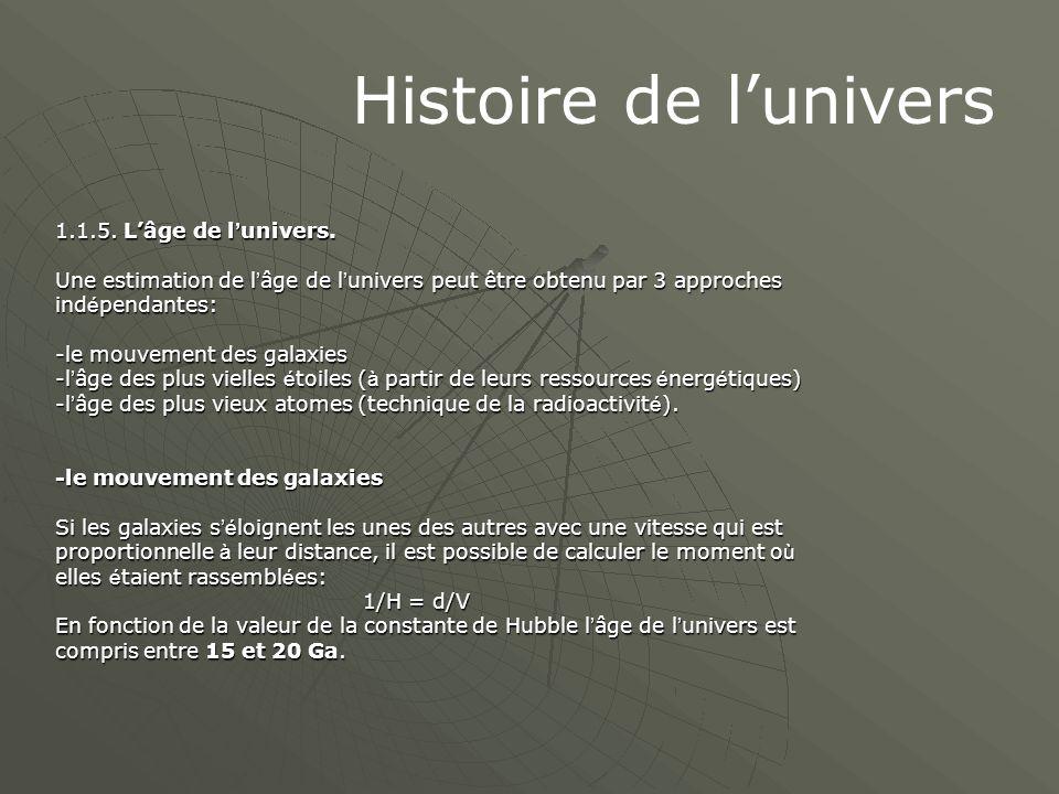 Histoire de l'univers 1.1.5. L'âge de l ' univers. Une estimation de l ' âge de l ' univers peut être obtenu par 3 approches ind é pendantes: -le mouv