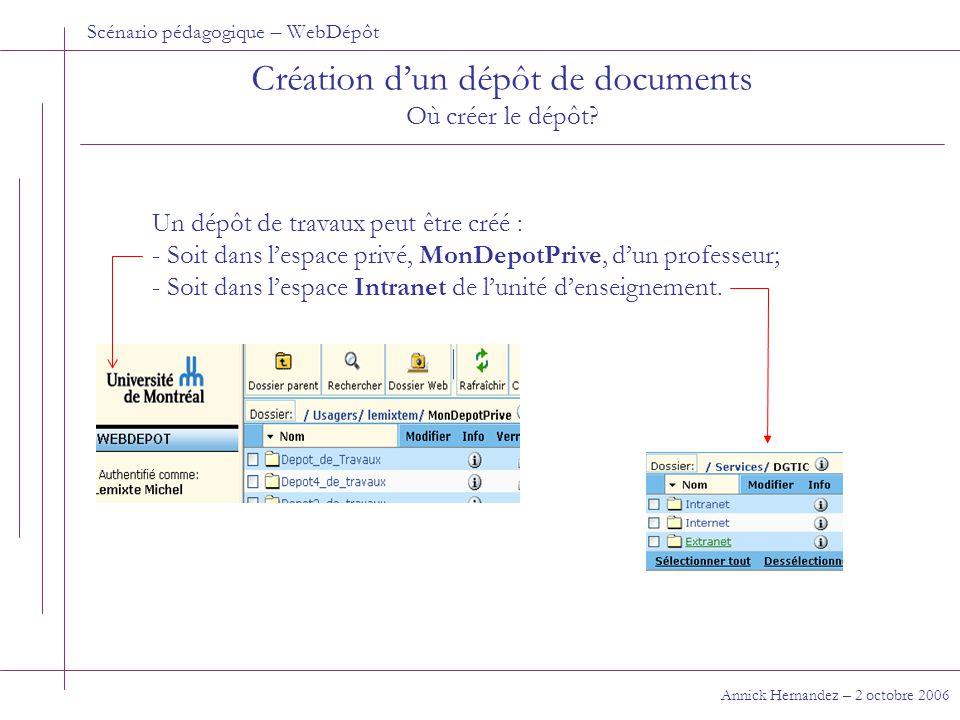 Scénario pédagogique – WebDépôt Création d'un dépôt de documents Où créer le dépôt.