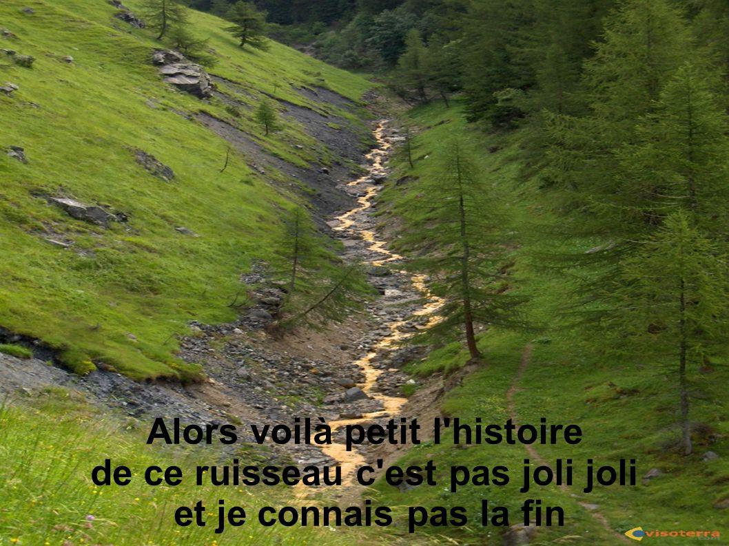 Alors voilà petit l'histoire de ce ruisseau c'est pas joli joli et je connais pas la fin