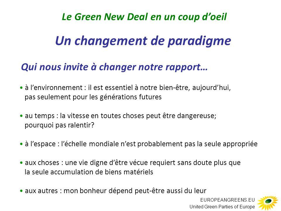 EUROPEANGREENS.EU United Green Parties of Europe Un changement de paradigme Qui nous invite à changer notre rapport… à l'environnement : il est essentiel à notre bien-être, aujourd'hui, pas seulement pour les générations futures au temps : la vitesse en toutes choses peut être dangereuse; pourquoi pas ralentir.