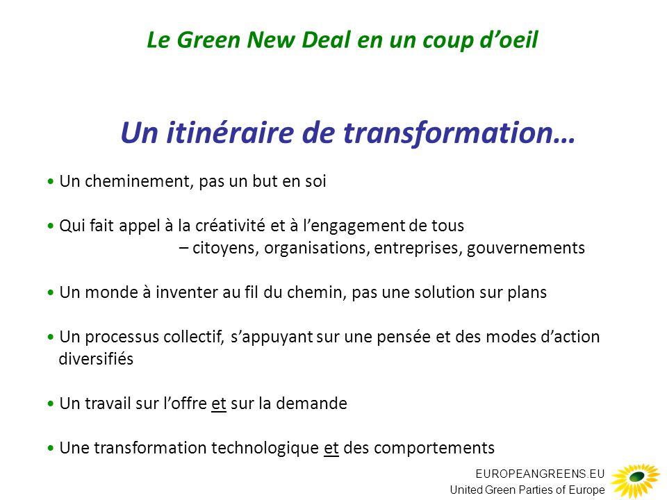 EUROPEANGREENS.EU United Green Parties of Europe Un itinéraire de transformation… … s'appuyant sur les investissements pas seulement financiers : aussi en temps, en énergie et en ressources pas seulement par les gouvernements : aussi par les organisations, les entreprises et les citoyens pas ponctuels mais soutenus au fil du temps investissements Le Green New Deal en un coup d'oeil