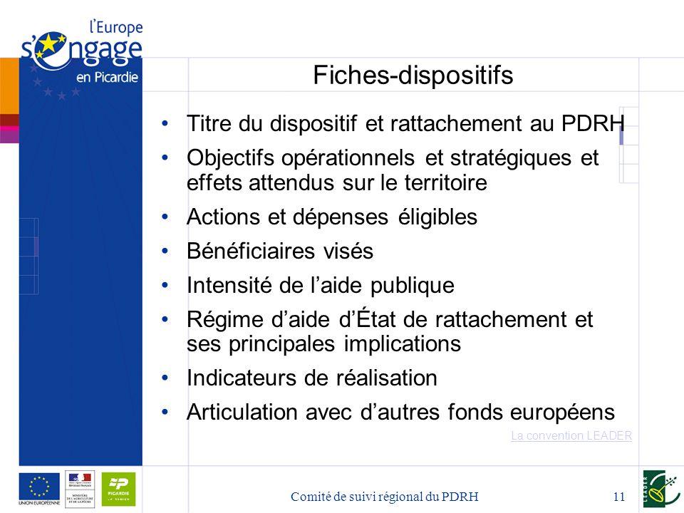 Comité de suivi régional du PDRH11 Fiches-dispositifs Titre du dispositif et rattachement au PDRH Objectifs opérationnels et stratégiques et effets at