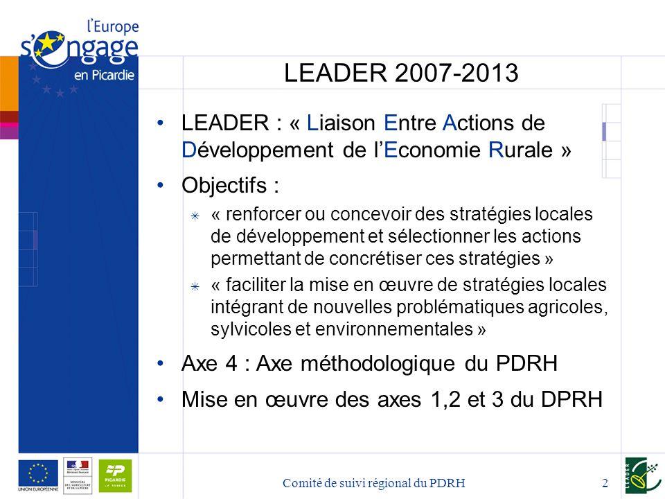 Comité de suivi régional du PDRH2 LEADER 2007-2013 LEADER : « Liaison Entre Actions de Développement de l'Economie Rurale » Objectifs :  « renforcer