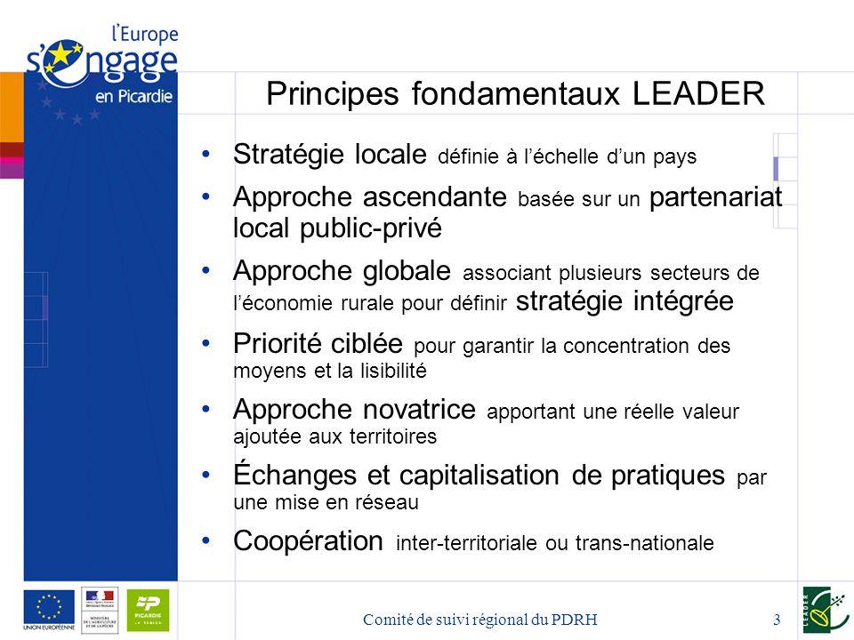 Comité de suivi régional du PDRH3 Principes fondamentaux LEADER Stratégie locale définie à l'échelle d'un pays Approche ascendante basée sur un parten