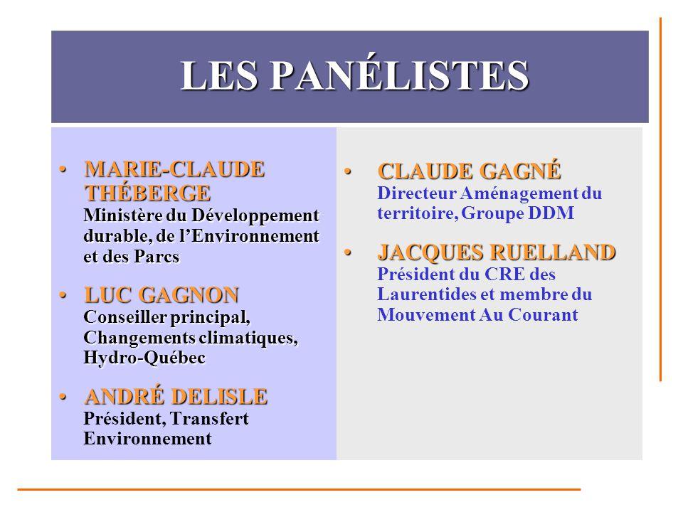 LES PANÉLISTES LES PANÉLISTES MARIE-CLAUDE THÉBERGE Ministère du Développement durable, de l'Environnement et des ParcsMARIE-CLAUDE THÉBERGE Ministère du Développement durable, de l'Environnement et des Parcs LUC GAGNON Conseiller principal, Changements climatiques, Hydro-QuébecLUC GAGNON Conseiller principal, Changements climatiques, Hydro-Québec ANDRÉ DELISLEANDRÉ DELISLE Président, Transfert Environnement CLAUDE GAGNÉCLAUDE GAGNÉ Directeur Aménagement du territoire, Groupe DDM JACQUES RUELLANDJACQUES RUELLAND Président du CRE des Laurentides et membre du Mouvement Au Courant