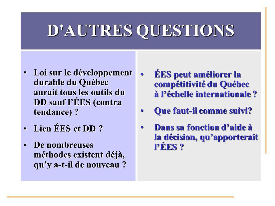 D AUTRES QUESTIONS Loi sur le développement durable du Québec aurait tous les outils du DD sauf l'ÉES (contra tendance) Loi sur le développement durable du Québec aurait tous les outils du DD sauf l'ÉES (contra tendance) .