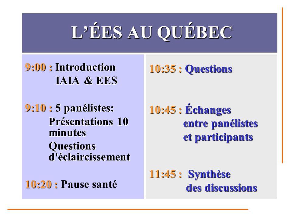 D AUTRES QUESTIONS Pourquoi le Québec ne l est pas, alors que l'ÉES est une pratique largement répandue dans le monde?Pourquoi le Québec ne l est pas, alors que l'ÉES est une pratique largement répandue dans le monde.