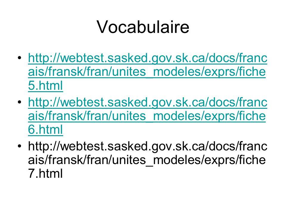 Vocabulaire http://webtest.sasked.gov.sk.ca/docs/franc ais/fransk/fran/unites_modeles/exprs/fiche 5.htmlhttp://webtest.sasked.gov.sk.ca/docs/franc ais