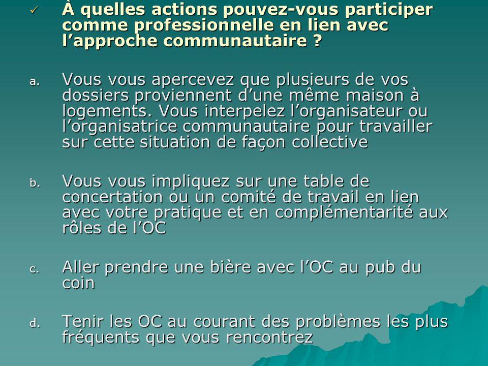 À quelles actions pouvez-vous participer comme professionnelle en lien avec l'approche communautaire ? À quelles actions pouvez-vous participer comme