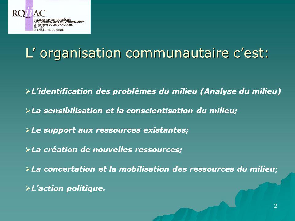 2 L' organisation communautaire c'est:  L'identification des problèmes du milieu (Analyse du milieu)  La sensibilisation et la conscientisation du m