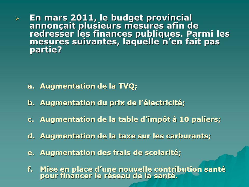  En mars 2011, le budget provincial annonçait plusieurs mesures afin de redresser les finances publiques. Parmi les mesures suivantes, laquelle n'en