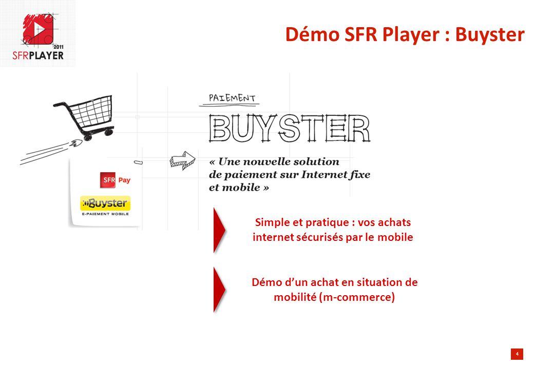 4 Démo SFR Player : Buyster Simple et pratique : vos achats internet sécurisés par le mobile Démo d'un achat en situation de mobilité (m-commerce)