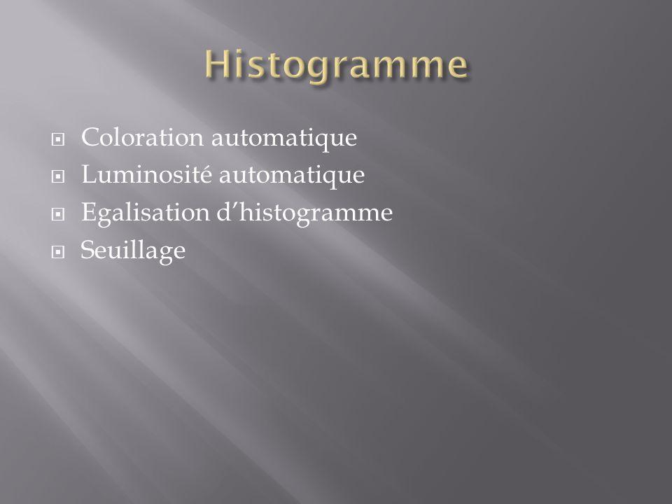  Coloration automatique  Luminosité automatique  Egalisation d'histogramme  Seuillage