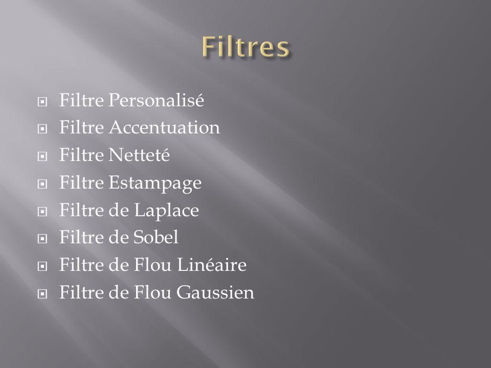 Filtre Personalisé  Filtre Accentuation  Filtre Netteté  Filtre Estampage  Filtre de Laplace  Filtre de Sobel  Filtre de Flou Linéaire  Filtr
