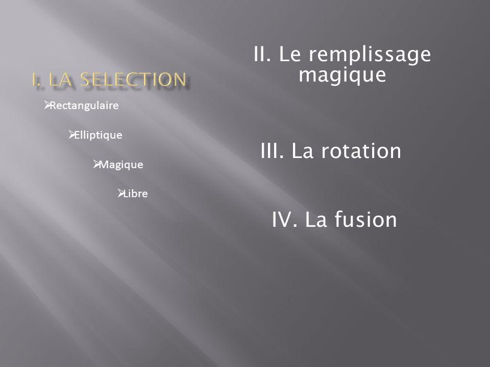 Rectangulaire  Elliptique  Magique  Libre II. Le remplissage magique III. La rotation IV. La fusion